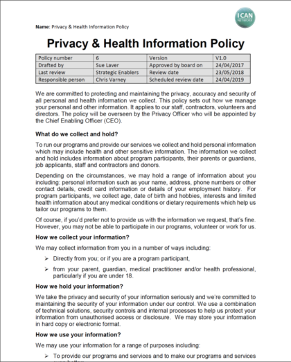I CAN - PRIVACY AND HEALTH POLICY